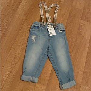 H&M jeans with suspenders- new with tags 12-18M